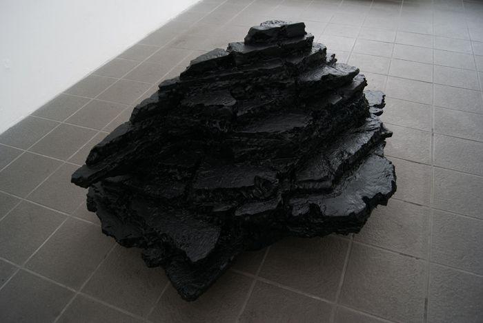 Johan Øvergård Terraform Polystyrene, acrylic primer and rubberspray, 145 x 80 x 115 cm, 2014