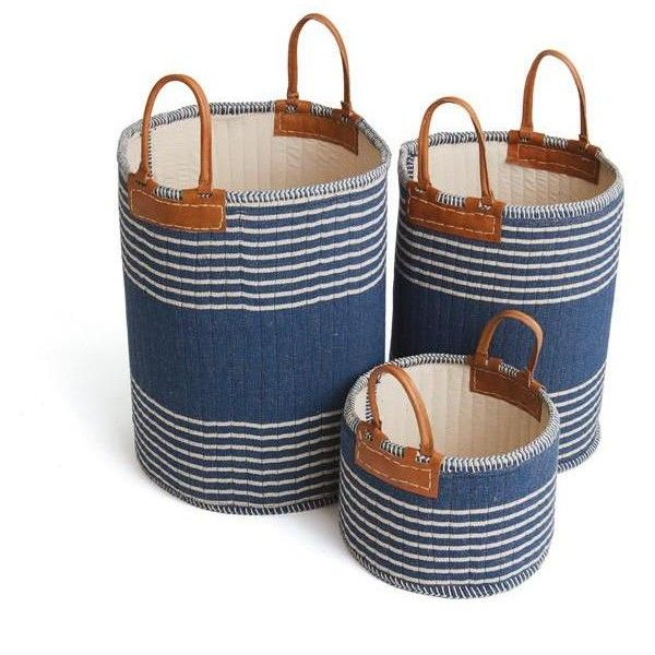 Admiral Linen Baskets SET OF 3 NAVY/WHITE ($174) ❤ Liked On Polyvore