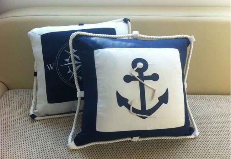 Ikea для обустройства дома 45 * 45 см вышивка темно синий якорь наволочки холст компас омар подушка подушка морской купить на AliExpress