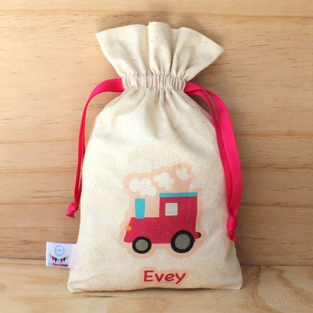 Pink Train Calico Drawstring Bag