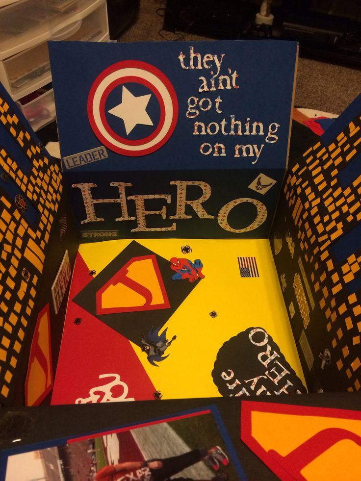 Super Hero deployment care package for my boyfriend. He's my Air Force Hero