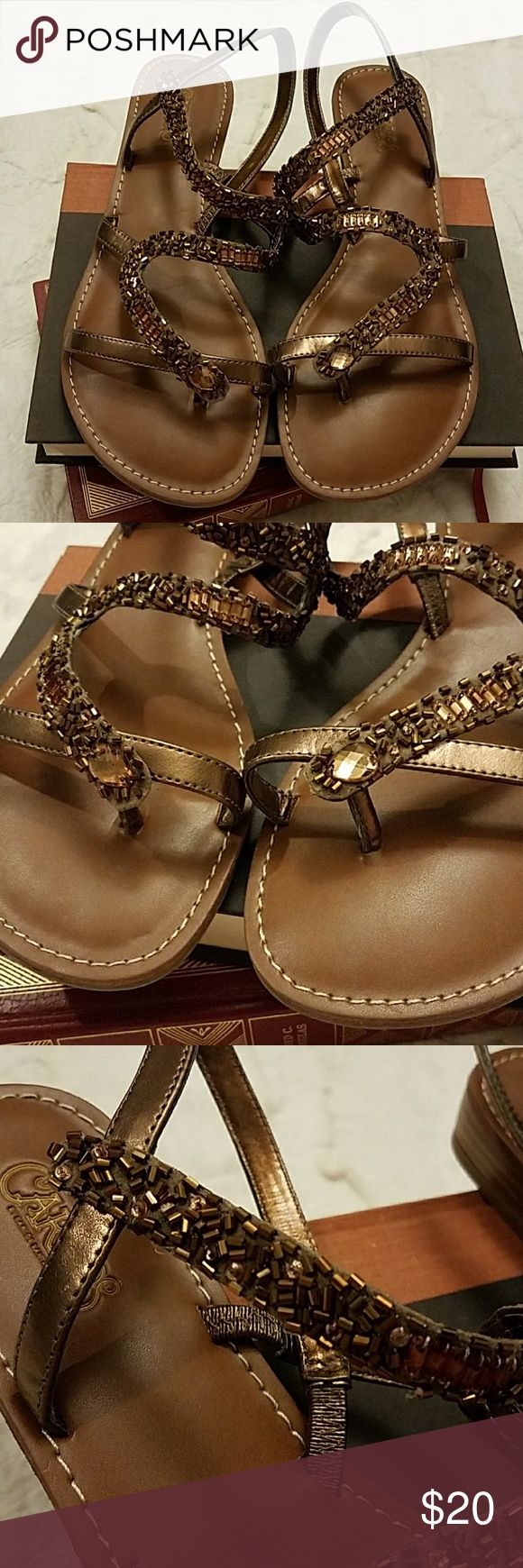 🌻🌻Carlos Santana Athena Sandals🌻🌻 Brown heavily beaded Athena Sandals! In perfect condition, worn one time! No beading missing, bottoms are in perfect condition & super clean! Carlos Santana Shoes Sandals
