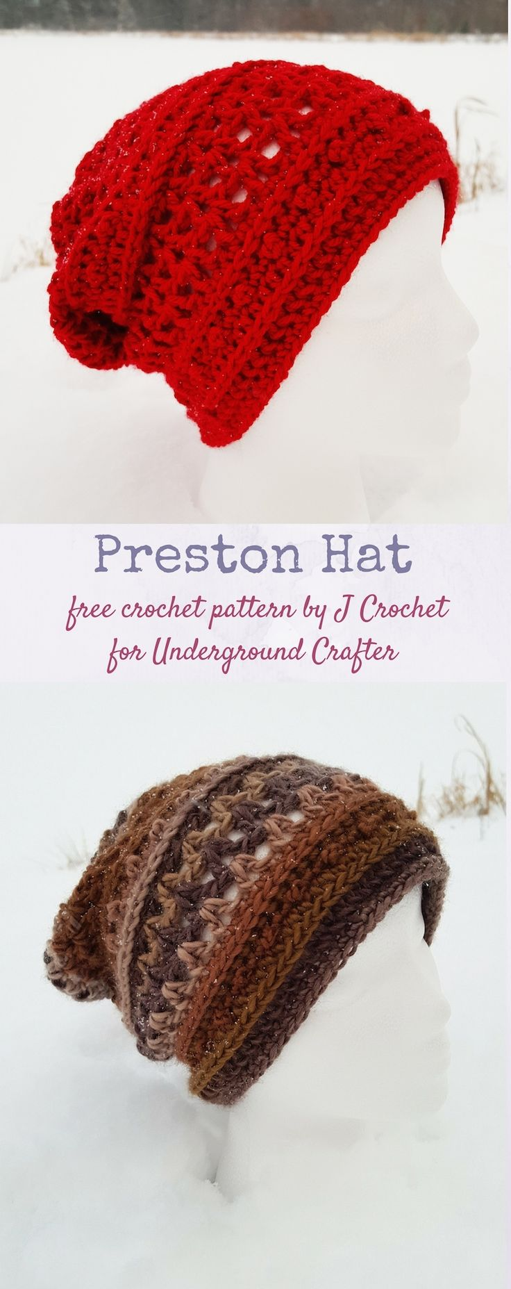 Free #crochet pattern: Preston Hat by J Crochet for Underground Crafter | This easy slouchy unisex beanie features a slightly open stitch pattern.