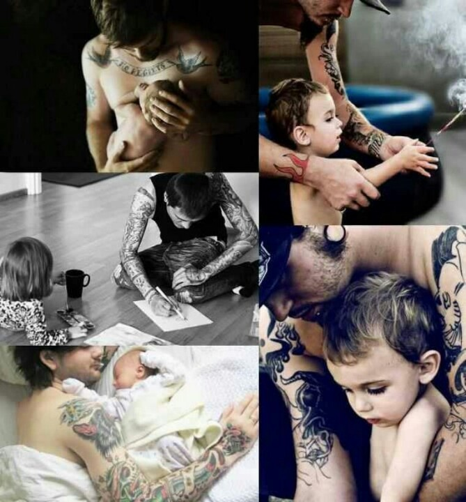 Men with tattoos win me over. Good fathers are beautiful. This picture melts me.