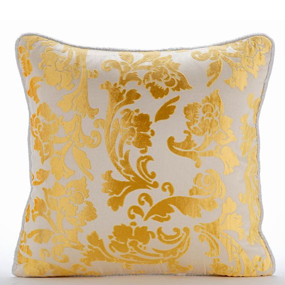 Mimosa Yellow Throw Pillows Cover 16x16 Burnout by TheHomeCentric