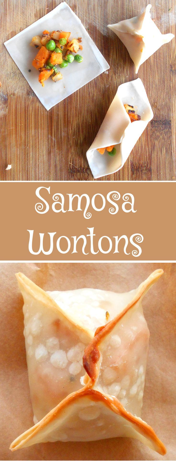 The easiest way to make samosas.  Made these healthier samosas.  They are baked, not fried and made using wontons.  They are great comfort food snacks.
