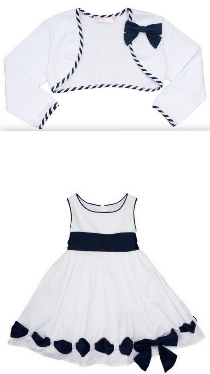 Biscotti - Ship Shape Girl's White Poplin Dress with Navy Accents