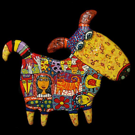 Dog ceramic panels dog art clay dog pet by CeramicsGerasimenko