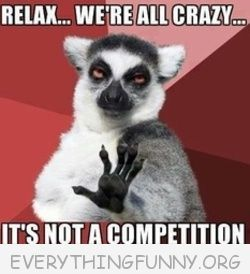 funny lemur meme relax we'er all crazy it's not a competition