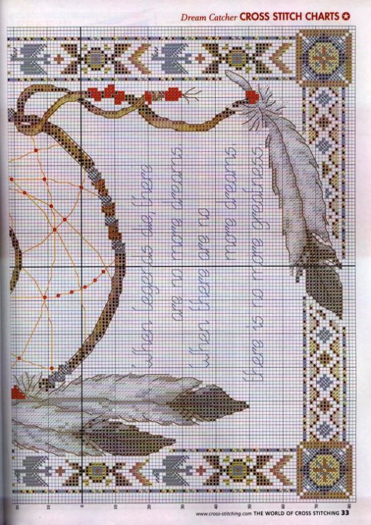 Borduurpatroon Kruissteek Dromenvanger *Embroidery Cross Stitch Pattern Dreamcatcher ~Legende 3/3~