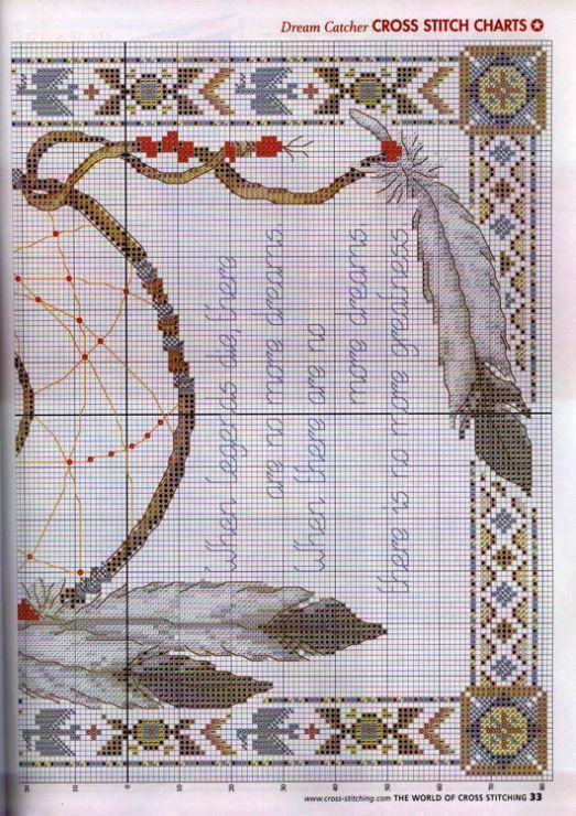 Borduurpatroon Kruissteek Dromenvanger *Embroidery Cross Stitch Pattern Dreamcatcher ~Legende 3/3~