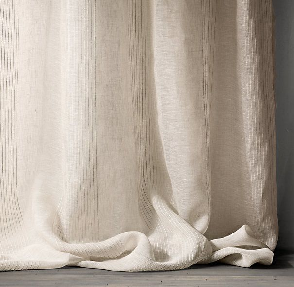 Rh Pinstripe Sheer Belgian Linen Drapery Available In