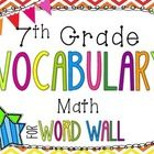 This set of 7th grade math vocabulary cards, with neon giraffe background, is perfect to display in your classroom.  This word wall set was created...