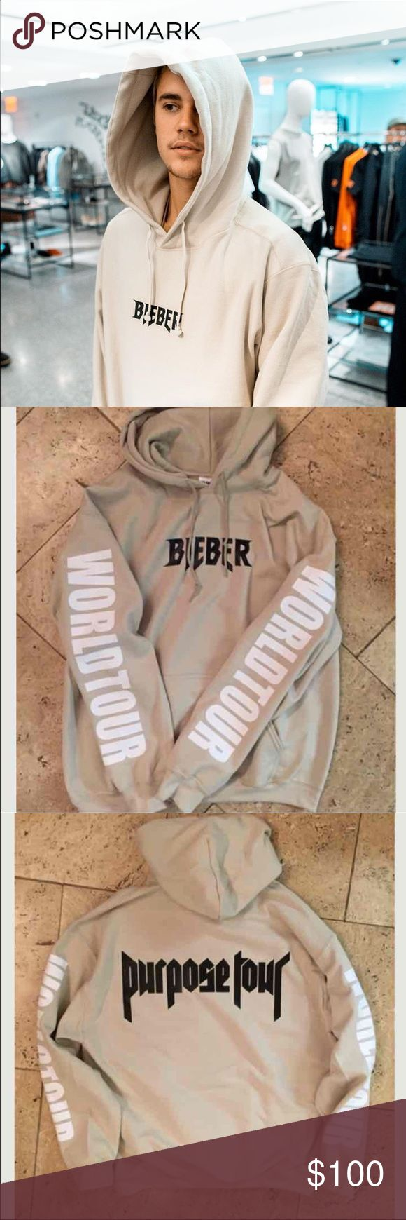 Justin Bieber Purpose Tour Hoodie Was bought at his tour on 3/25/16 for $120. Ended up not wearing it. Size M. Selling it lower on Merc Sweaters