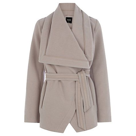 Buy Oasis Faux Leather Detail Coat, Mid Grey Online at johnlewis.com