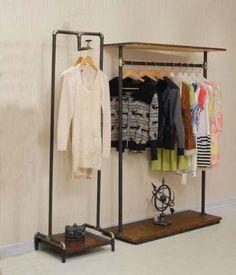 Ropa de la ropa de rack estante para hacer el viejo de madera de época plomería ...