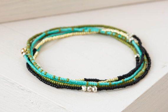 Beaded Wrap Bracelet with Pyrite, Seed Bead & Gemstone Jewelry, Delicate Beaded Stretch Bracelet, Boho Chic Jewelry, Elastic Bracelet