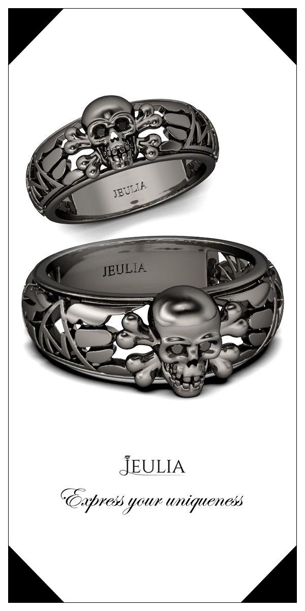Jeulia Hollow Round Cut Created Black Diamond Skull Ring #Jeulia