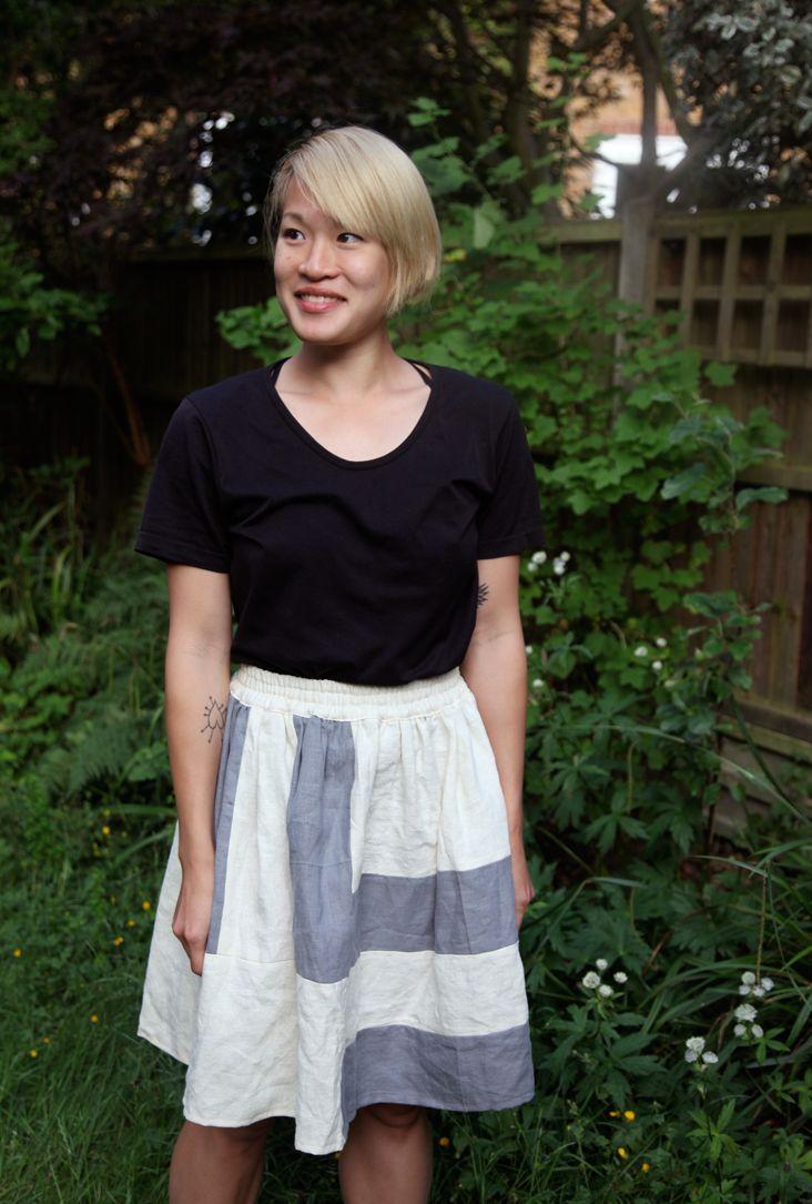 Fabrics-Store tutorial for color block linen panel skirt w/elastic waist. Easy & Charming!