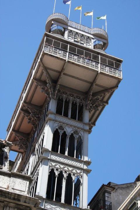 Elevador de Santa Justa, the eccentric 45-meter lift, that links Chiado with Baixa below.
