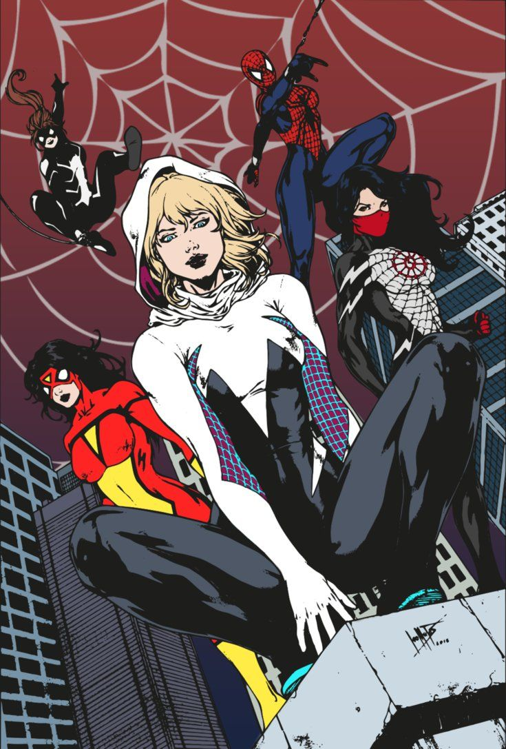 Colored version of 's ink drawing. Traced in Illustrator and colored in Photoshop by me. Spider-Gwen Spider-Woman (Jessica Drew) Silk Spider-Girl (Mayday Parker) Spider-Girl (Anya Corazon)
