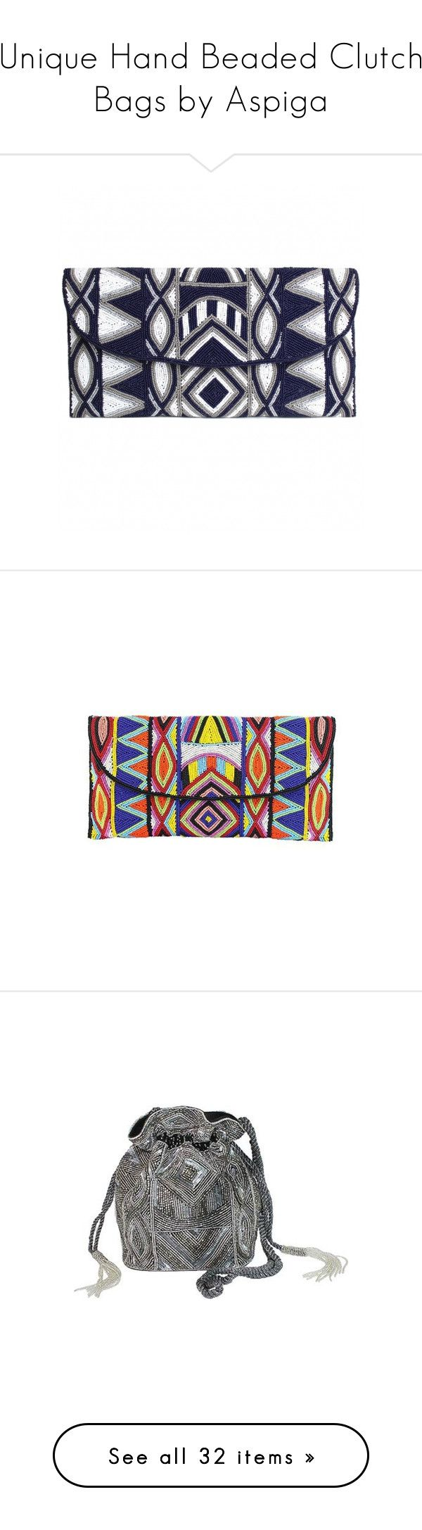 """""""Unique Hand Beaded Clutch Bags by Aspiga"""" by aspigabeach on Polyvore featuring bags, handbags, clutches, blue purse, blue clutches, clasp handbag, white purse, beaded clutches, aspiga and summer purses"""