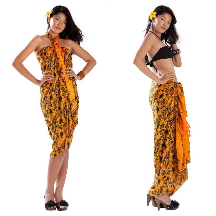 Orange Bora Bora Hawaiian Sarong Wrap.