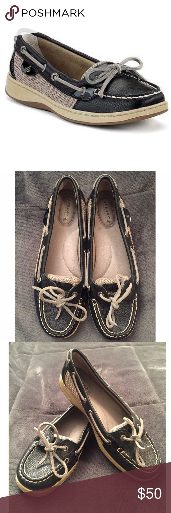 Sperry Women's Angelfish Slip-On Boat Shoes Never worn Sperry boat shoe. Black and Tan. NEW without box. Open to offers! Sperry Shoes