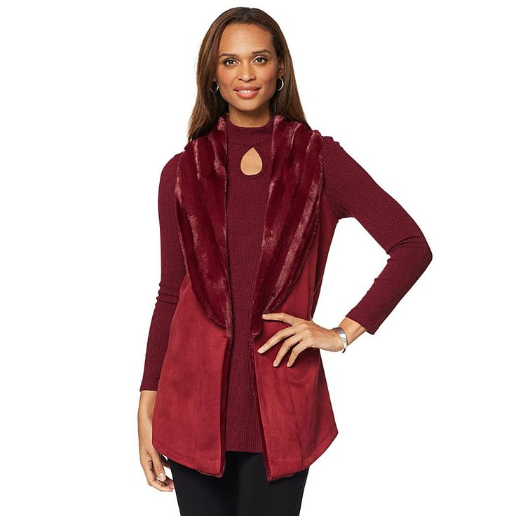 Slinky® Brand Faux Suede Vest with Faux Fur Collar - Red