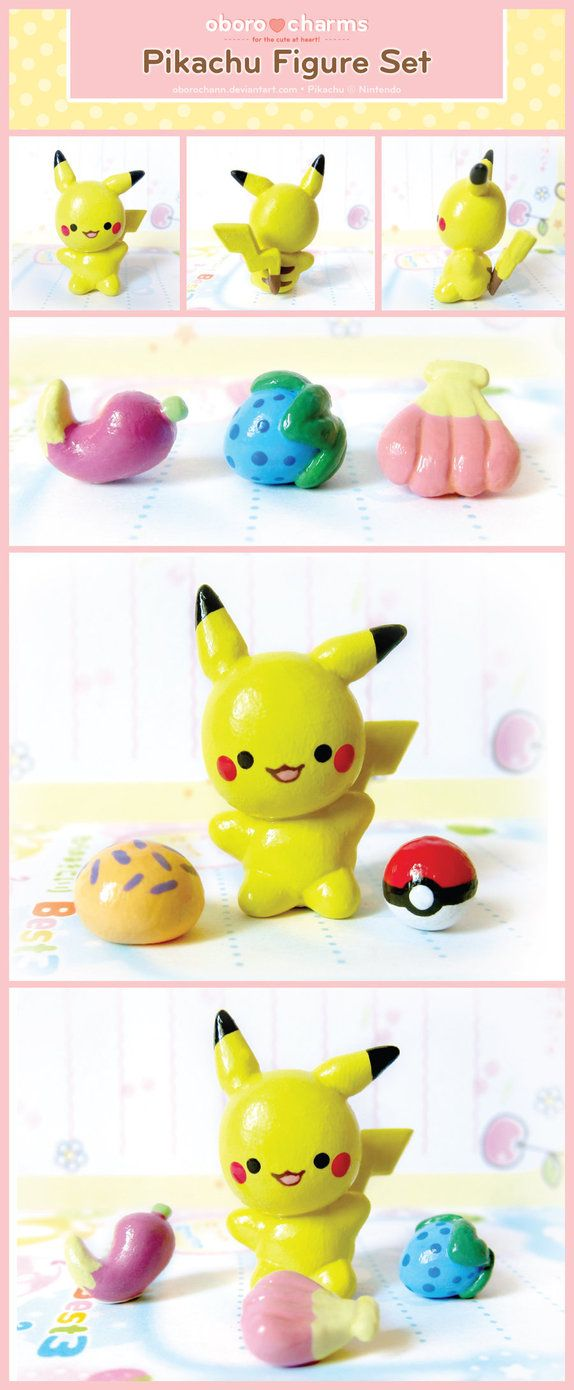 Pikachu polymer clay figure set by Oboro charms.