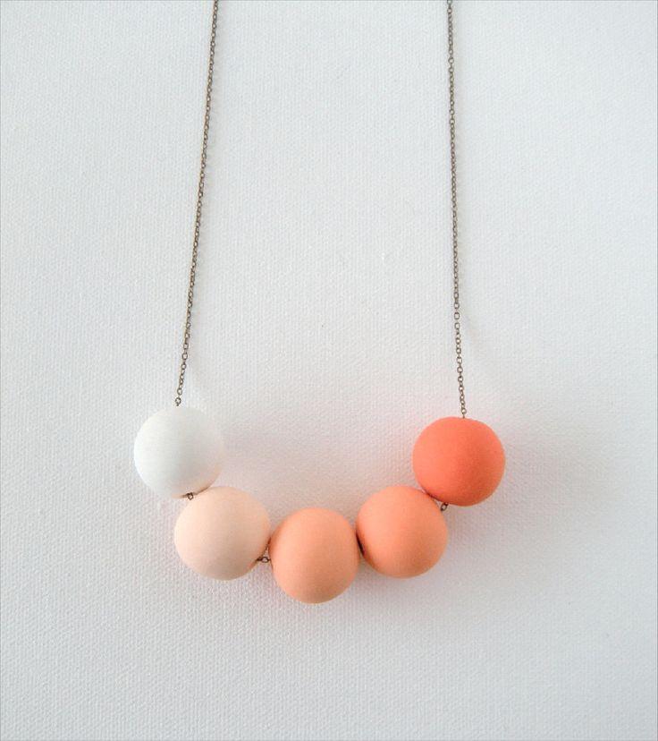 Orange Ombre Beaded Necklace