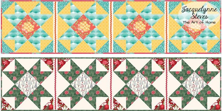 Free Table Runner Pattern - fabric & color ideas |JacquelynneSteves.com #quilt #sew