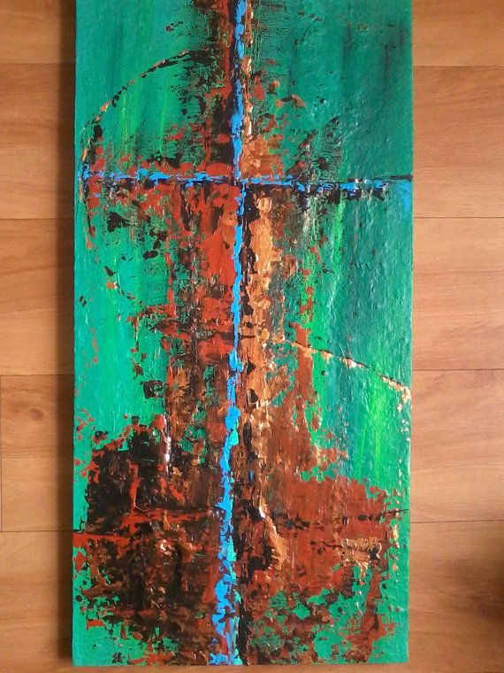 Terricotta Green Bronze Abstract Cross Abstract by ColorfulPalette, $100.00