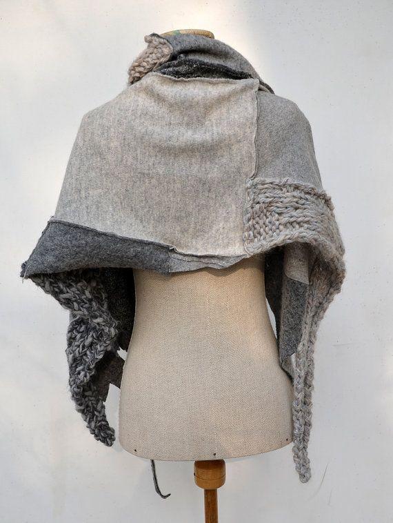 Wool Felt Hand knited shawl, Cozy warm, light grey, ash sculptural, unique OOAK, soft felted wool geometrical fashion , pastel patchwork 198