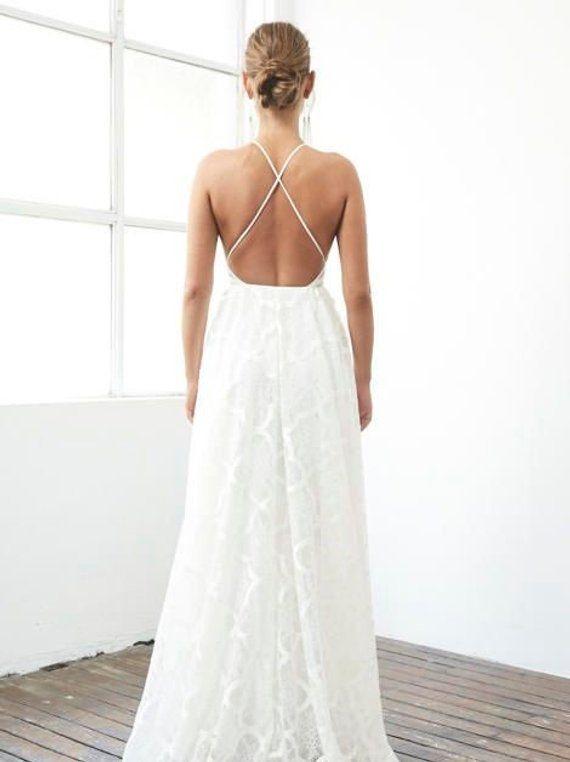 Criss Cross Backless Lace Wedding Dress Dream Dress Pinterest