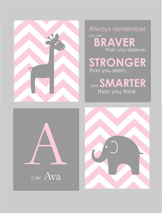 "Pink and Grey Nursery Baby Girl Nursery Pink and Gray Winnie the Pooh Quote Elephant Nursery Art for Nursery Chevron 8""x10"" Prints"