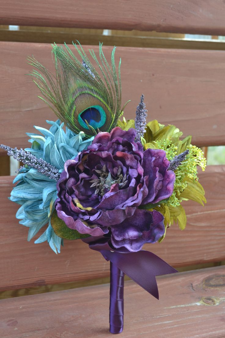 My Day Bouquet - Peacock Maid of Honor, Bridesmaid, or Toss Bouquet!! Peonies, Dahlias, and Peacock Feathers!!! Simply Gorg!!!!