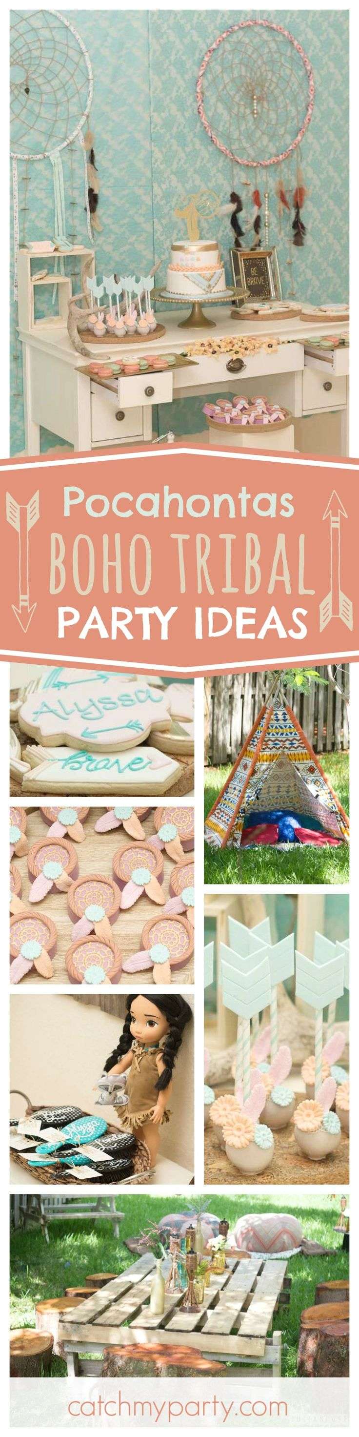 Don't miss this cute Boho Tribal Pocahontas birthday party. The cake pops are adorable!! See more party ideas and share yours at CatchMyParty.com