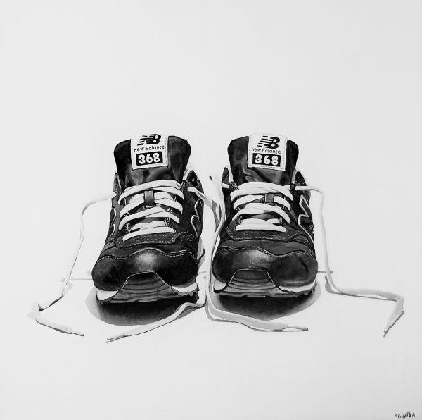 Zapatillas II 3 Acrílico sobre tabla 60×60 2016 #arte #contemporaneo #acrilico #painting #art #contemporary #contemporaryart #zapas #zapatillas #sneakers #adidas #puma #exposicion #exibition #madrid #newbalance #pintura