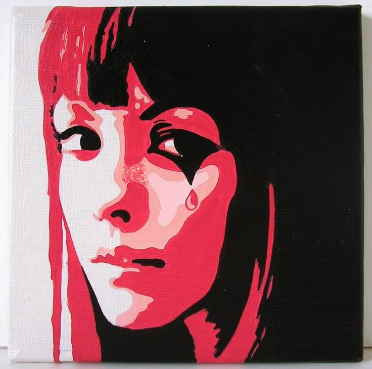 """""""Lady Colombine"""" tableau acrylique sur toile  20x20cm"""