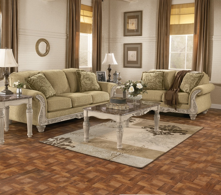 Signature Design By Ashley Cambridge South Coast Traditional Sofa With  Carved Wood Accents At Del Sol