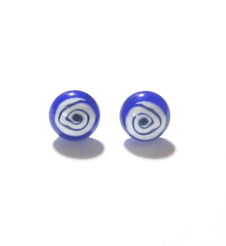 Murano Italian Glass Blue White Swirl Button Post Earrings, Sterling Silver Stud Earrings