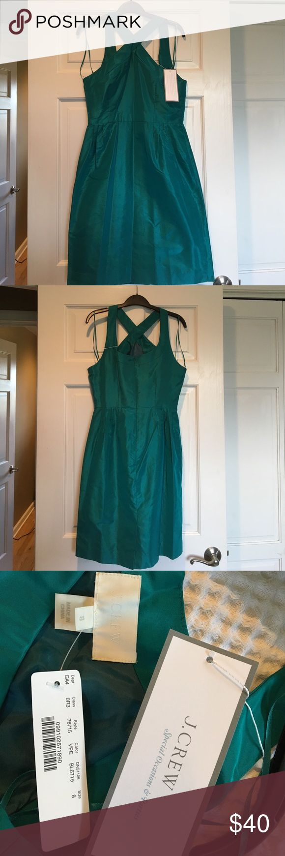 J.Crew Shift Silk Taffeta Dress J.Crew Wonder Shift Silk Taffeta Dress. Special occasion and party collection. New with Tags. Size 8. Color is vintage peacock. Purchased for a bridesmaids dress but did not end up wearing. Would be perfect as a guest of wedding dress J. Crew Dresses