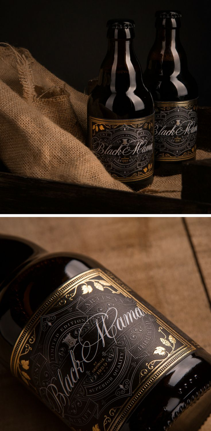 'Black Mama' is a special edition black IPA craft beer. The final label design successfully mirrors the premium, strong, flavorful beer through a luxurious style with elegant golden font and impeccable embossed details.