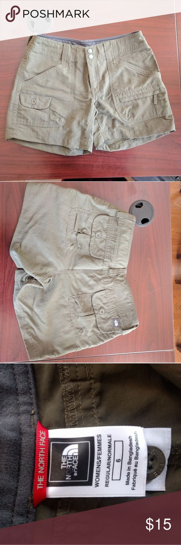 North Face shorts, size 6 NWOT Olive green North face shorts. Never worn but bought from an outlet. The North Face Shorts Cargos