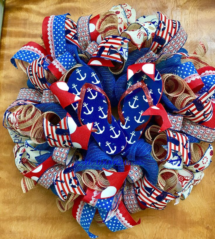 A personal favorite from my Etsy shop https://www.etsy.com/listing/531571931/nautical-flip-flops-wreath-summer-flip