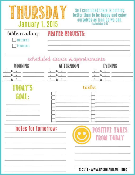 January 2015 printable Planner - Daily scripture, bible reading, tasks, appointment. Monthly overview, calendar, bills, and more.