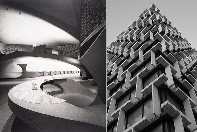 Left - Ezra Stoller_Eero Saarinen_Eero Saarinen designed TWA Terminal_JFK Airport / Right - Brutalist Council House in Perth 1960s