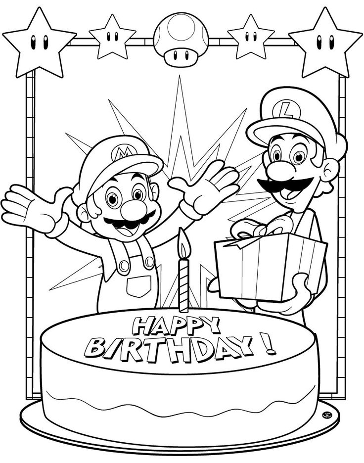 Mario Bros Happy Birthday Colouring Page Print And Colour For Children