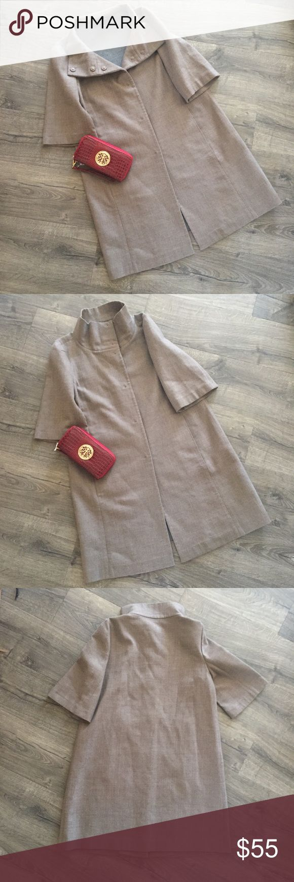 Ann Taylor short sleeve wool dress coat. Size L Great condition, short sleeve coat with hidden buttons and useable pockets! Perfect for a fall or spring wedding/event. Genuine virgin wool! Ann Taylor Jackets & Coats